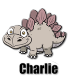 cartoon dinosaur mascot charlie