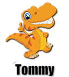 cartoon dinosaur mascot tommy